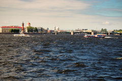 St. Petersburg, Russia - June 28, 2017: Panoramic view of the Neva River embankment in St. Petersburg. Royalty Free Stock Photo