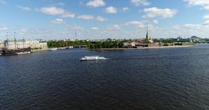 St. Petersburg, Russia - June 04.2017. Peter and Paul Fortress and Hare Island from Neva River. St. Petersburg, Russia - June 04.2017. Peter and Paul Fortress stock footage