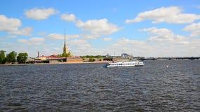 St. Petersburg, Russia - June 03. 2017. Peter and Paul Fortress and river Neva. St. Petersburg, Russia - June 03. 2017. Peter and Paul Fortress and a river Neva stock video footage
