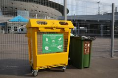 Recycle bins at Saint Petersburg Stadium during FIFA World Cup 2018. St. Petersburg, Russia - June 16, 2018: Recycle bins at Saint Petersburg stadium during FIFA stock images