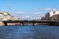 St. Petersburg, Russia - June 04.2017 Semyonovsky Bridge on Fontanka River Royalty Free Stock Image