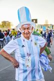 St. Petersburg, Russia - June 26, 2018: Smiling old fan of Argentina national football team stock images