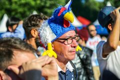 St. Petersburg, Russia - June 26, 2018: Supporter of France national football team. royalty free stock photography