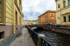 St. Petersburg, Russia - June 3 2017. View of embankment of the Moika River and second Winter Bridge Stock Image