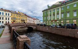 St. Petersburg, Russia - June 3 2017. View of embankment of the Moika River Stock Photos