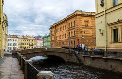 St. Petersburg, Russia - June 3 2017. View of embankment of the Moika River and second Winter Bridge Royalty Free Stock Photography