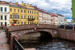St. Petersburg, Russia - June 3 2017. View of embankment of the Moika River and second Winter Bridge Royalty Free Stock Image