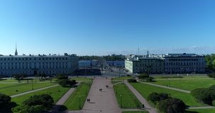 St. Petersburg ,Russia -June 4. 2017. View from top of Mars Field and Troitsky Bridge across Neva river. St. Petersburg ,Russia -June 4. 2017. View from a top of stock video