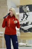 Volunteer of FIFA World Cup 2018. St. Petersburg, Russia - June 7, 2018: Volunteer of FIFA World Cup 2018 Elizaveta Usmanova on the opening of exhibition `Goal Stock Image