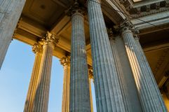 St Petersburg, Russia. Kazan Cathedral colonnade in St Petersburg -closeup view of columns Royalty Free Stock Images