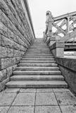 St Petersburg, Russia Le scale del granito del ponte di Bolsheokhtinsky Fotografie Stock