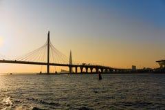 St Petersburg, Russia, luglio 2018 Vista del ponte strallato dal fiume Neva fotografia stock libera da diritti