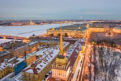 ST. PETERSBURG, RUSSIA - MARCH, 2019: Aerial view cityscape of city center, Palace square, State Hermitage museum (Winter Palace. ), Neva river, Peter and Paul stock image