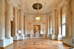 Balustrade Marble pantry in the dining room of Paul I in the Gatchina Palace stock photo