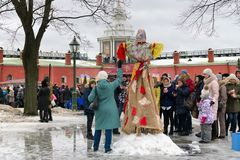 St. Petersburg, Russia, March 10, 2019. Celebration of a wide Russian carnival in the Peter and Paul Fortress. stock image
