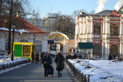 Courtyard of Alexander Nevsky Lavra Stock Photography