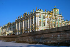 St. Petersburg, Russia - March 5, 2017: The Hermitage building. View from the Neva. Royalty Free Stock Photography