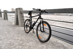 Sport bike on background of a winter landscape Royalty Free Stock Photos