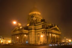 St. Isaac`s Cathedral in the nght march fog. Saint Petersburg Stock Photo
