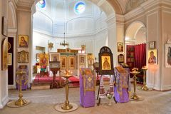 View of the iconostasis of the chapel of the Holy Trinity in Gat Stock Photos