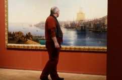 Exhibition of Aivazovsky in Russian Museum. St. Petersburg, Russia - March 21, 2017: Visitor in the exhibition of Ivan Aivazovsky in the Russian Museum. More Stock Photos