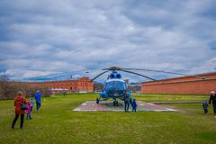 ST. PETERSBURG, RUSSIA, 17 MAY 2018: The helicopter Mi-8TV RA-24100 of Alliance Avia AON takes off against the stock photos