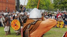 St. Petersburg, Russia - May 27, 2017: Illustrative battle of the ancient Vikings. Historical reconstruction at the festival in St stock video footage