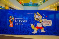 ST. PETERSBURG, RUSSIA, 02 MAY 2018: The official mascot of the 2018 FIFA World Cup wolf Zabivaka on the theatrical. Square Park of football holding a welcome Stock Photography