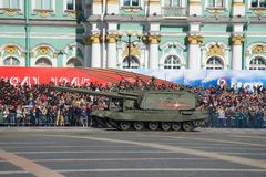 Two self-propelled artillery cannons Msta-S on a dress rehearsal of a military parade stock photography