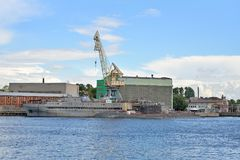 View of the Admiralty shipyard, and standing at the dock the sub royalty free stock images