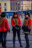 ST. PETERSBURG, RUSSIA, 01 MAY 2018: Women soldiers pose in old Russian military uniforms dressed as 19 century Russian. Soldier at Palace Square in St Stock Photography