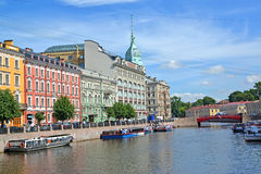 ST. PETERSBURG, RUSSIA. Moika River Embankment and Krasny Bridge in summer sunny day Royalty Free Stock Images