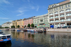 ST. PETERSBURG, RUSSIA.Moika River Embankment in summer sunny day Royalty Free Stock Photo
