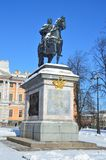 St. Petersburg, Russia, February, 22, 2018. Monument to Emperor Peter the great near Mikhailovsky castle. St. Petersburg, Russia. Monument to Emperor Peter the Royalty Free Stock Photo