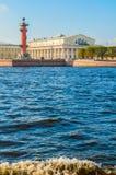 St Petersburg, Russia - Neva river and St Petersburg landmarks of Vasilievsky island spit Royalty Free Stock Photo