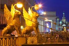 St. Petersburg, Russia. Night city. Bankovsky Bridge. White nigh Royalty Free Stock Photos