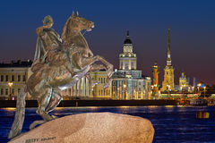 St Petersburg, Russia. Night view of the center ST.PETERSBURG, and the monument Peter 1 Stock Photos