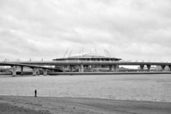 New Stadium St. Petersburg. ST.PETERSBURG, RUSSIA - 11 NOVEMBER 2018: New Stadium St. Petersburg in the eponymous city of the Russian Federation, located on royalty free stock images