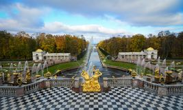 Peterhof Palace in Saint Petersburg, Russia. St. Petersburg, Russia - Oct 9, 2016. Grand Cascade of Peterhof Palace at autumn in St. Petersburg, Russia. The Royalty Free Stock Photos