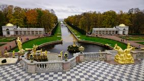 Peterhof Palace in Saint Petersburg, Russia. St. Petersburg, Russia - Oct 9, 2016. Grand Peterhof Palace and the Grand Cascade in St. Petersburg, Russia. The Stock Photos