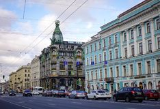 Nevsky Prospect in St. Petersburg, Russia Stock Images