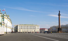 St.Petersburg, Russia - October 7, 2014: Dvortcovaya (Palace) square with walking people Stock Image