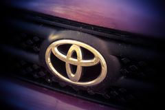 St. Petersburg, Russia, October 18, 2016 the emblem of the brand Toyota, Toyota of Japan's largest car group Stock Photos
