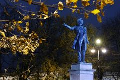 Monument to Pushkin in St. Petersburg, Russia. St. Petersburg, Russia - October 29, 2015: Monument to Alexander Pushkin in an autumn night. The monument was Royalty Free Stock Photography