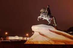 Night view of the Bronze Horseman in St. Petersburg, Russia. St. Petersburg, Russia - October 23, 2015: Night view of the Bronze Horseman. The equestrian statue Royalty Free Stock Photography