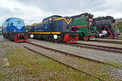 ST. PETERSBURG, RUSSIA. Old locomotives stand on ways Royalty Free Stock Images