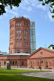 ST. PETERSBURG, RUSSIA. An old water tower with   external lift mine Royalty Free Stock Photo