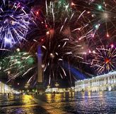 St. Petersburg. Russia. Palace Square with Alexander column and the Winter Palace in night illumination and Christmas fireworks.  stock photos