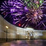 St. Petersburg. Russia. Palace Square and Arch of the General Staff Building in night illumination and Christmas fireworks.  royalty free stock photography
