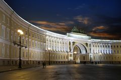 St. Petersburg. Russia. Palace Square and Arch of the General Staff Building in night illumination.  Stock Image